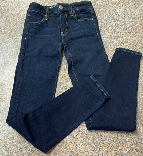 American Eagle dark denim super super stretch jeans sz 00 Woman's EUC