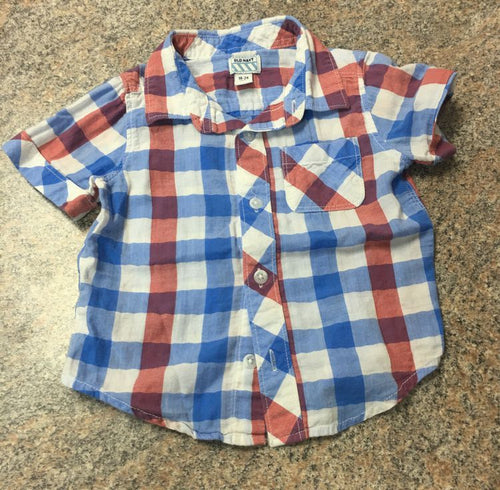 Old Navy red white blue checkered shirt sz 18-24 months EUC