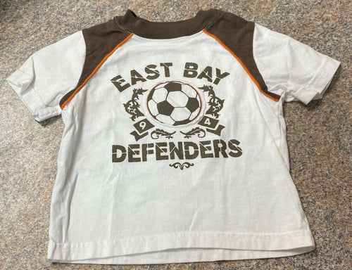Old Navy white brown east bay defenders soccer T sz 18-24 months VGUC