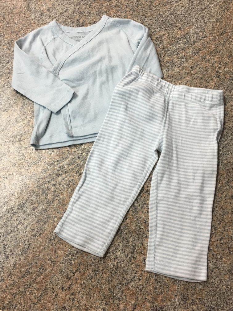Burts Bees baby blue wrap snap top & striped pants sz 3-6 months