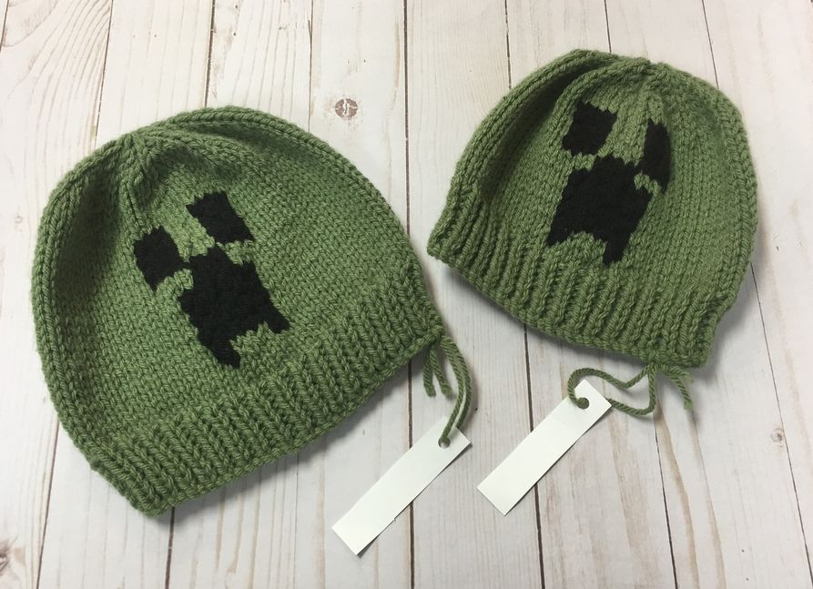 Green Black Creepy hat sz M ~ 3-6 years Handcrafted NEW