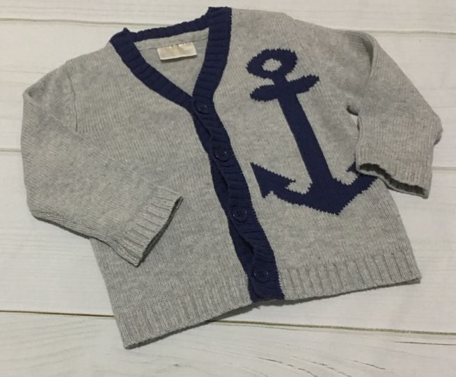 Rosie Pope Baby gray navy anchor knit cardigan sz 12 months EUC