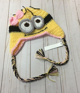 Yellow Black Pink Goggle Creature Handcrafted Hat sz 3-8 years