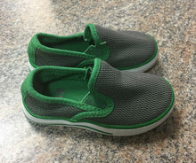 Load image into Gallery viewer, Gap gray green slip on shoes sz 5 toddler EUC