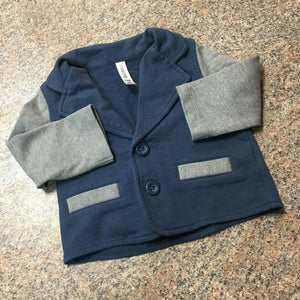 Cherokee navy gray button up jacket sweatshirt sz 6-9 months EUC