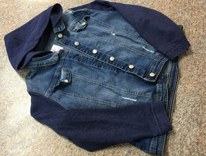 Justice denim navy hooded jacket sz 20 plus VGUC