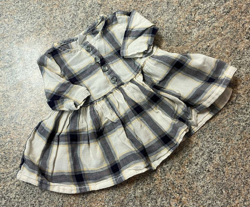 Old Navy navy red yellow plaid dress sz 0-3 months EUC