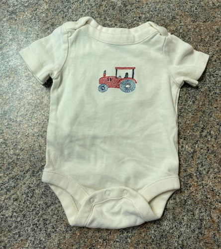 Gap cream red tractor bodysuit sz 0-3 months EUC