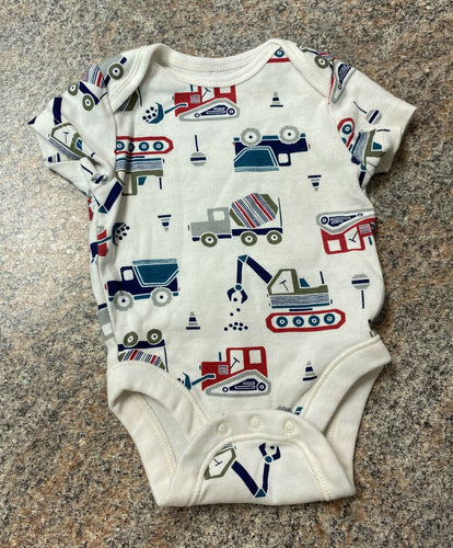 Old Navy white red teal tractor bodysuit sz 0-3 months EUC