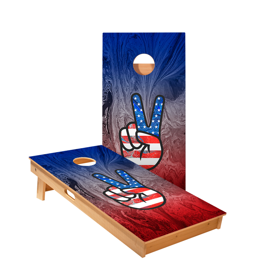 American Flag Peace Sign Regulation Cornhole Boards Bag Toss Game Set