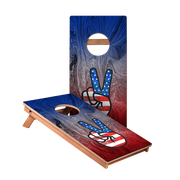 American Flag Peace Sign Junior Cornhole Boards bag toss game set
