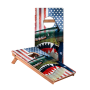 KG Vintage American Flag Plane Junior Cornhole Boards bag toss game set