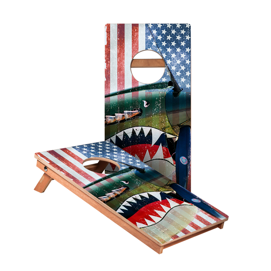 Vintage American Flag Plane Junior Cornhole Boards bag toss game set