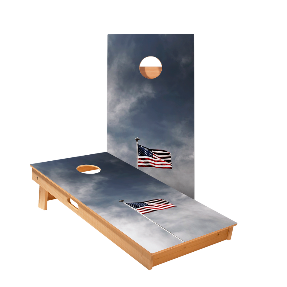 American Flag Pole Regulation Cornhole Boards Bag Toss Game Set