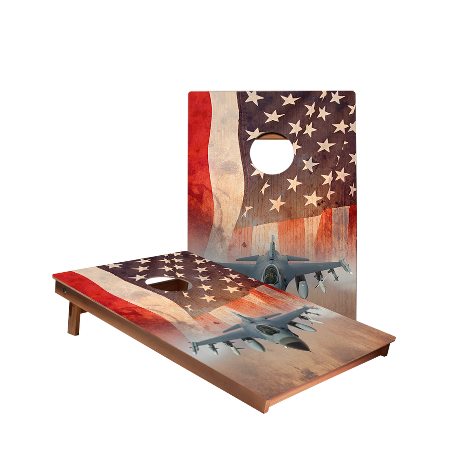 Dale American Flag With Jet Recreation Cornhole Boards