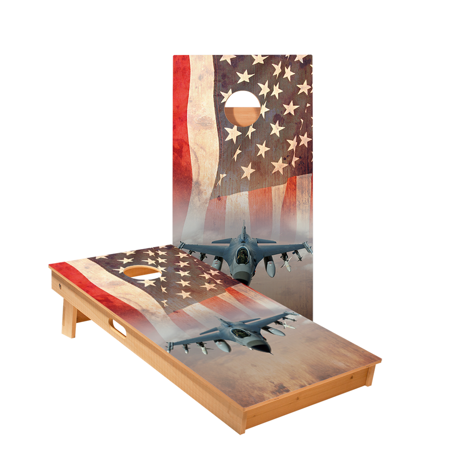 American Flag With Jet Regulation Cornhole Boards Bag Toss Game Set