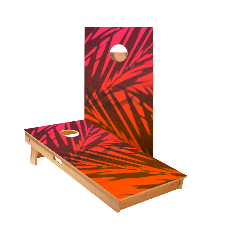 Beach Gradient Orange Regulation Cornhole Boards Bag Toss Game Set