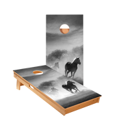 Black And White Horses Regulation Cornhole Boards Bag Toss Game Set