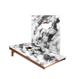 Dale Black And White Marble Recreation Cornhole Boards