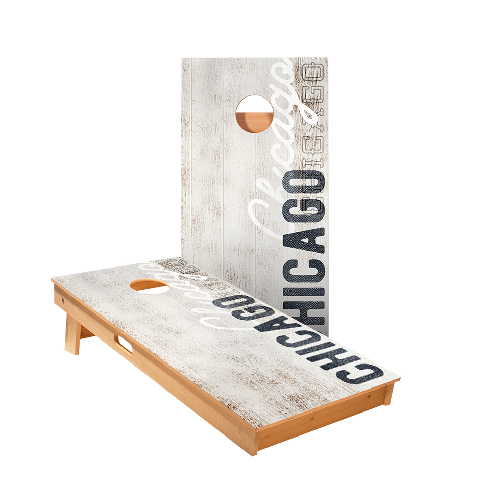 Chicago Vintage Gameday Regulation Cornhole Boards Bag Toss Game Set