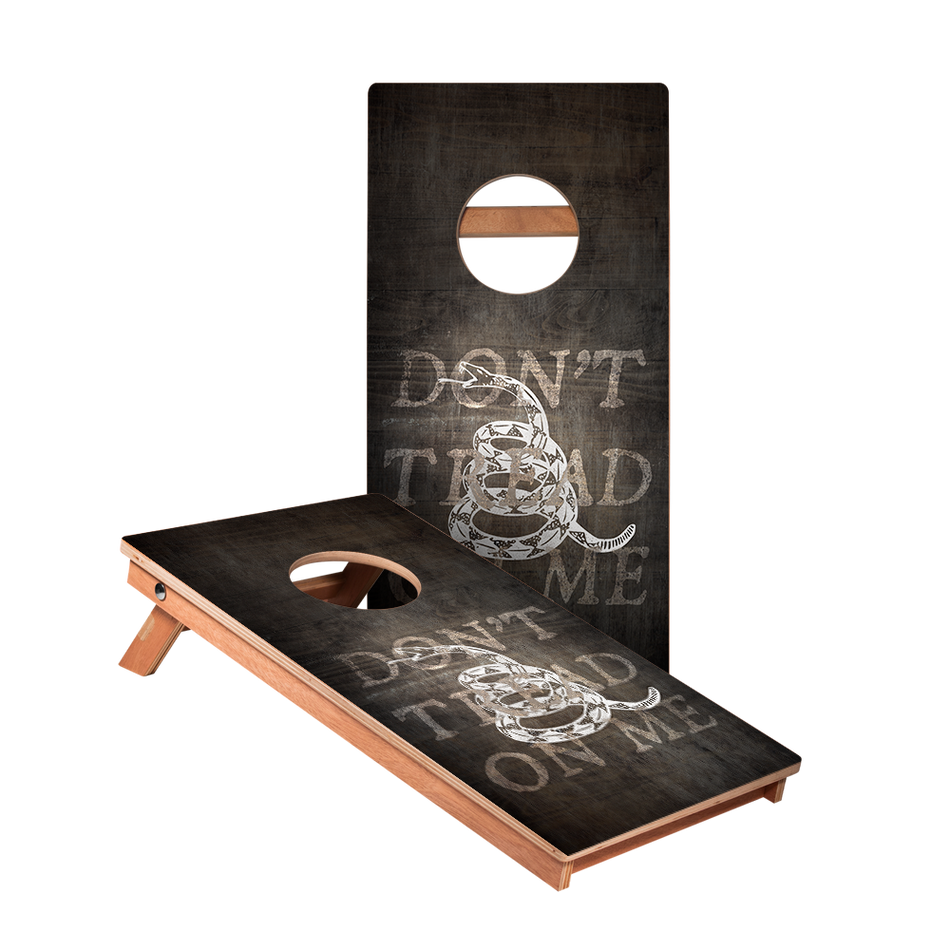 KG Don't Tread On Me Black Cornhole Boards bag toss game set