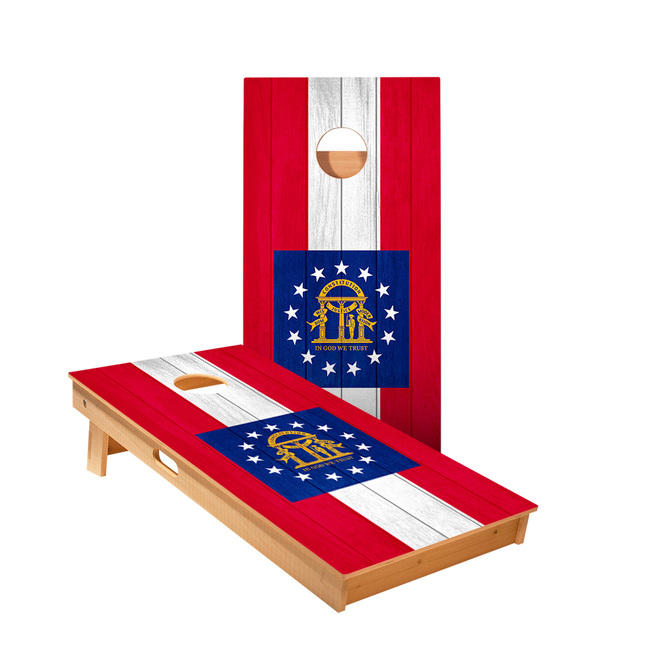Georgia Flag Regulation Cornhole Boards Bag Toss Game Set