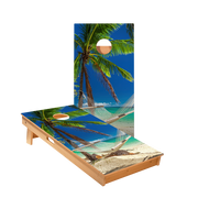 Hammock On The Beach Tropical Regulation Cornhole Boards Bag Toss Game Set