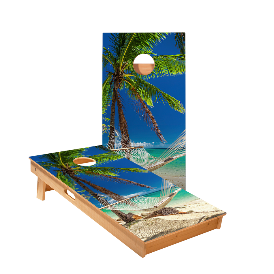 Star Hammock On The Beach Tropical Professional Cornhole Boards
