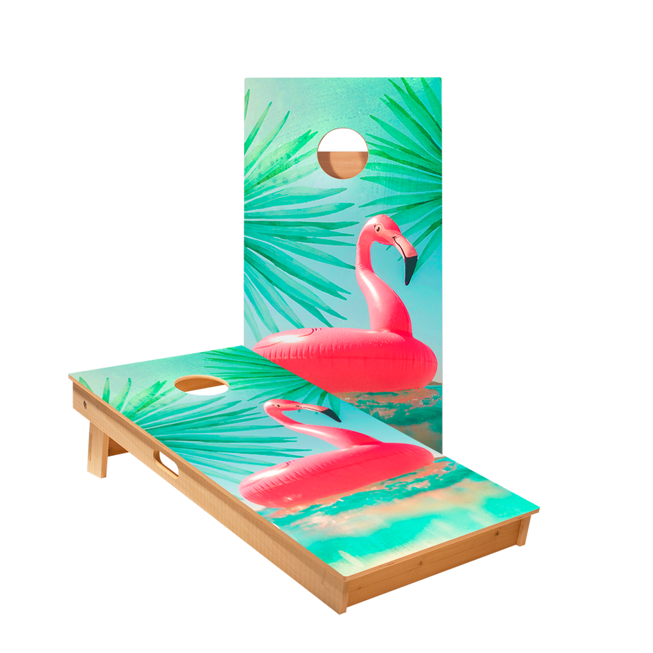 Inflatable Flamingo Regulation Cornhole Boards Bag Toss Game Set
