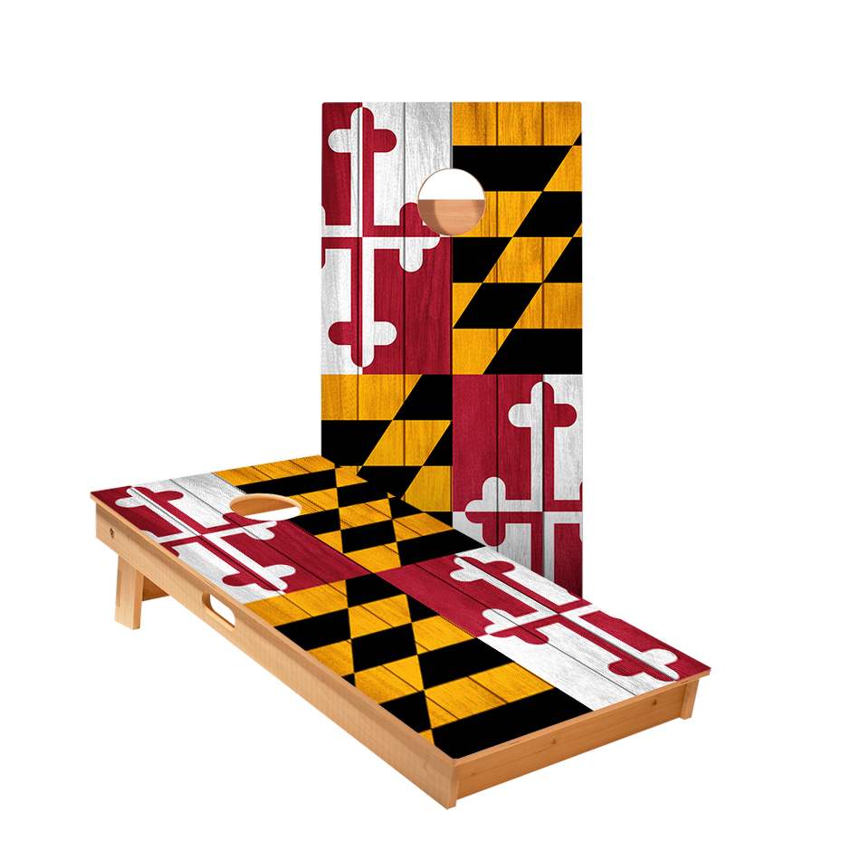 Maryland Flag Regulation Cornhole Boards Bag Toss Game Set