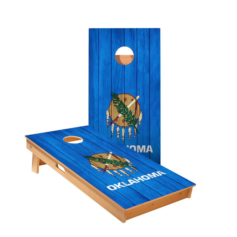 Oklahoma Flag Regulation Cornhole Boards Bag Toss Game Set