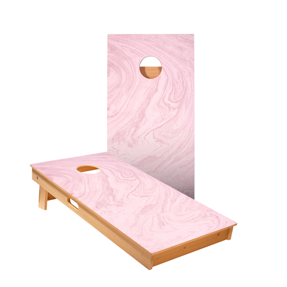 Pink Marble Regulation Cornhole Boards Bag Toss Game Set