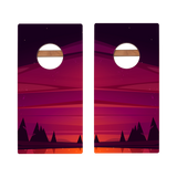 KG Red Forest Sunset Recreation Cornhole Boards