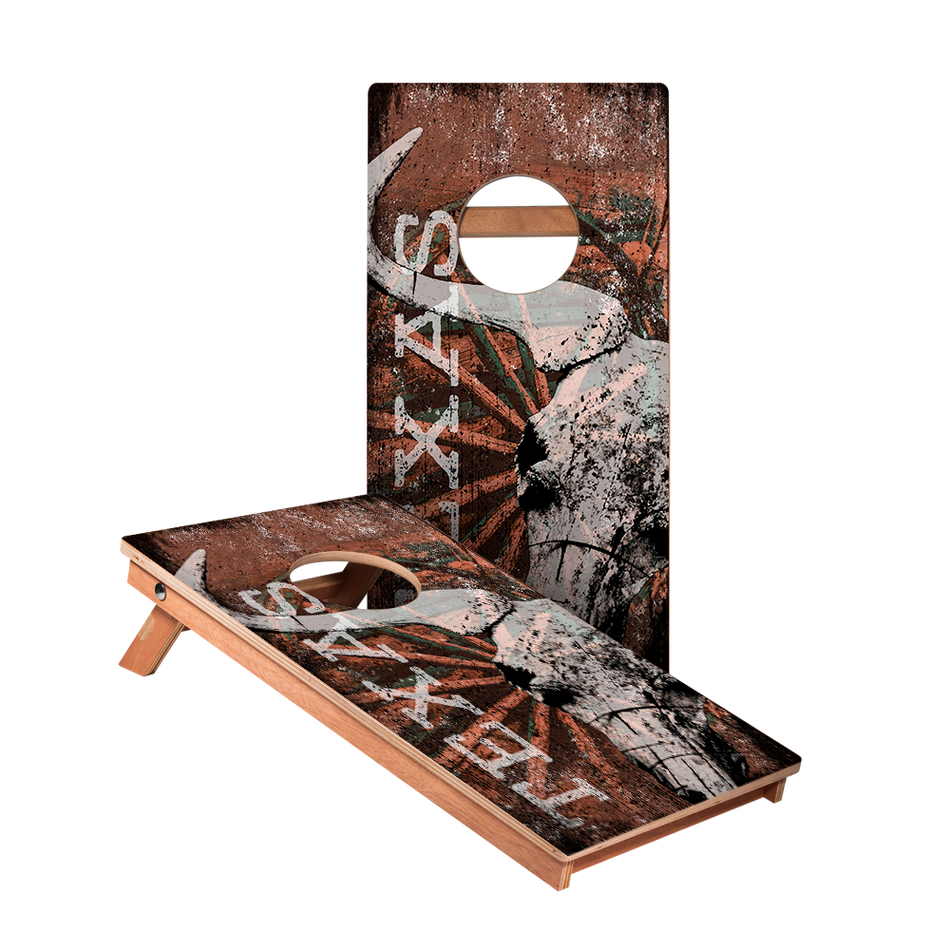 Red Texas Longhorn Junior Cornhole Boards bag toss game set