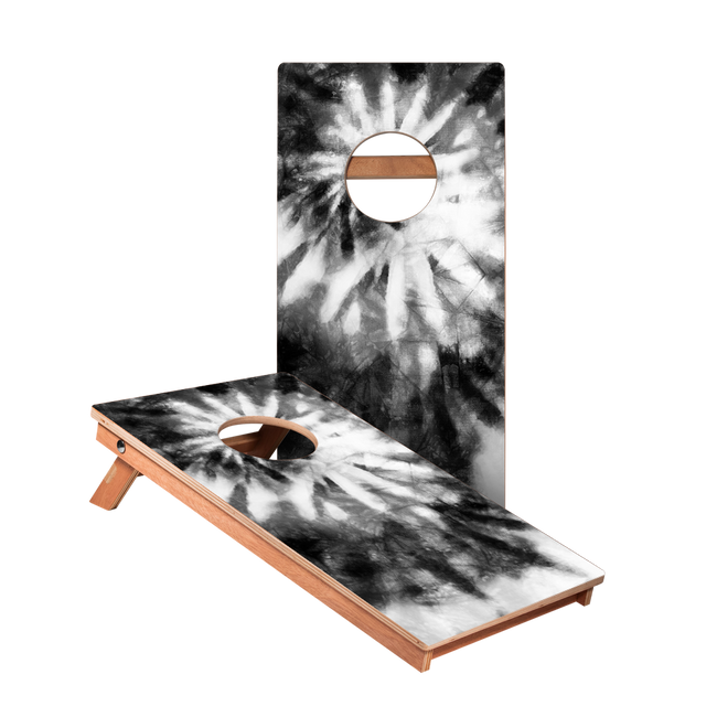 Tye-Die Black and White Junior Cornhole Boards bag toss game set