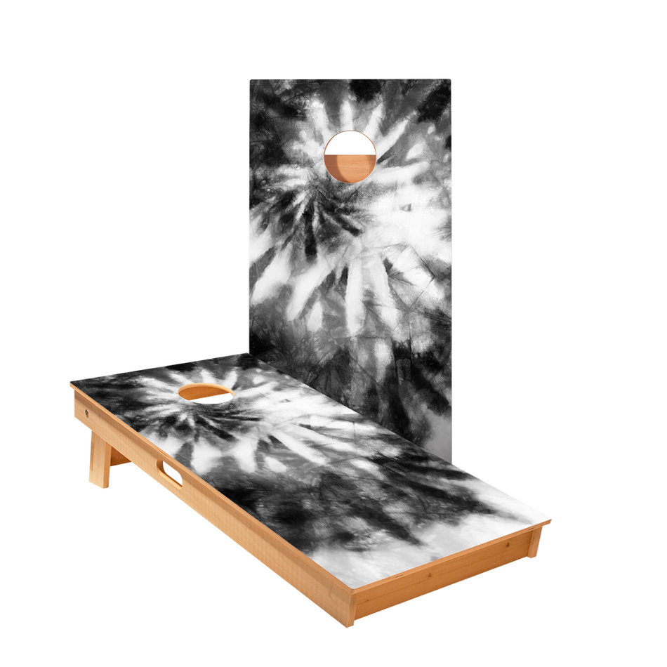 Tie-Dye Black And White Regulation Cornhole Boards Bag Toss Game Set