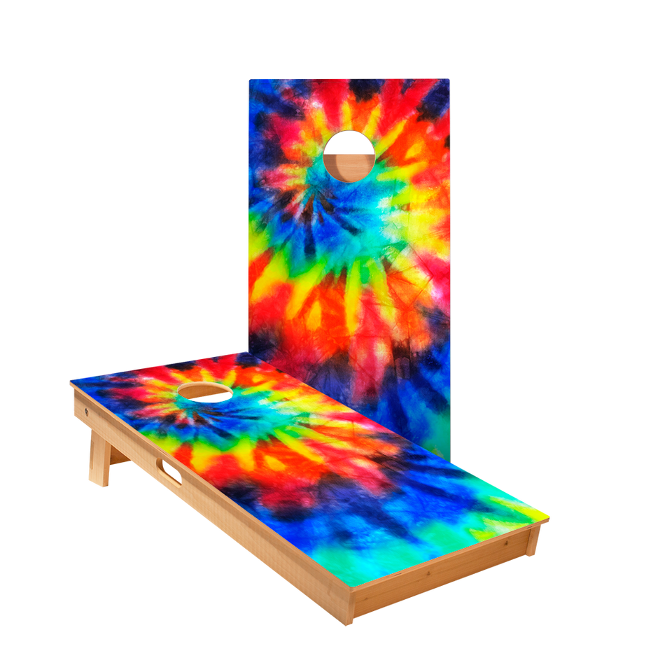 Tie-Dye Color Regulation Cornhole Boards Bag Toss Game Set