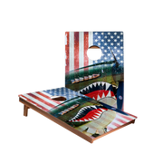 Dale Vintage American Flag Plane Recreation Cornhole Boards