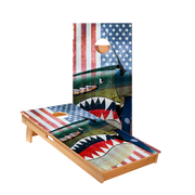 Vintage American Flag Plane Regulation Cornhole Boards Bag Toss Game Set