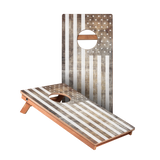KG Vintage Black And White American Flag Recreation Cornhole Boards