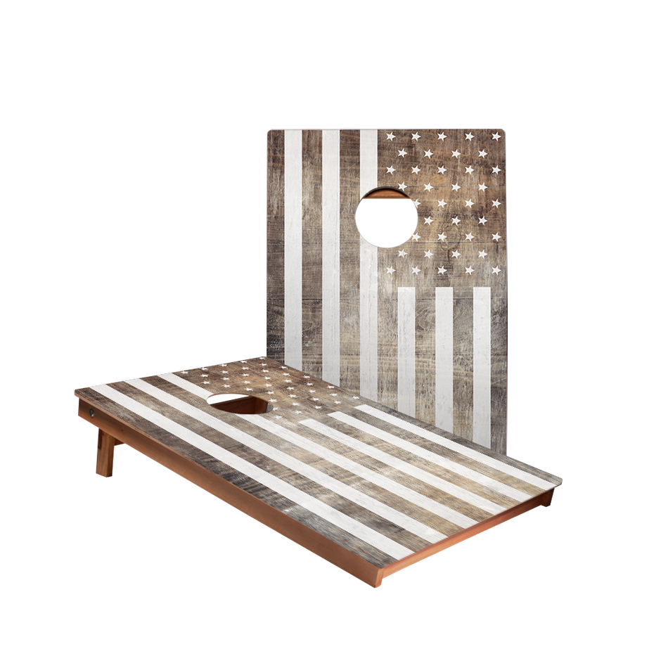 Dale Vintage Black And White American Flag Recreation Cornhole Boards