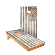 Vintage Black And White American Flag Regulation Cornhole Boards Bag Toss Game Set