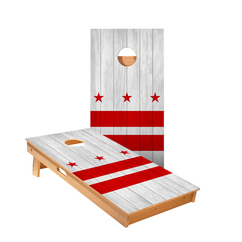 Star Washington Flag White Professional Cornhole Boards