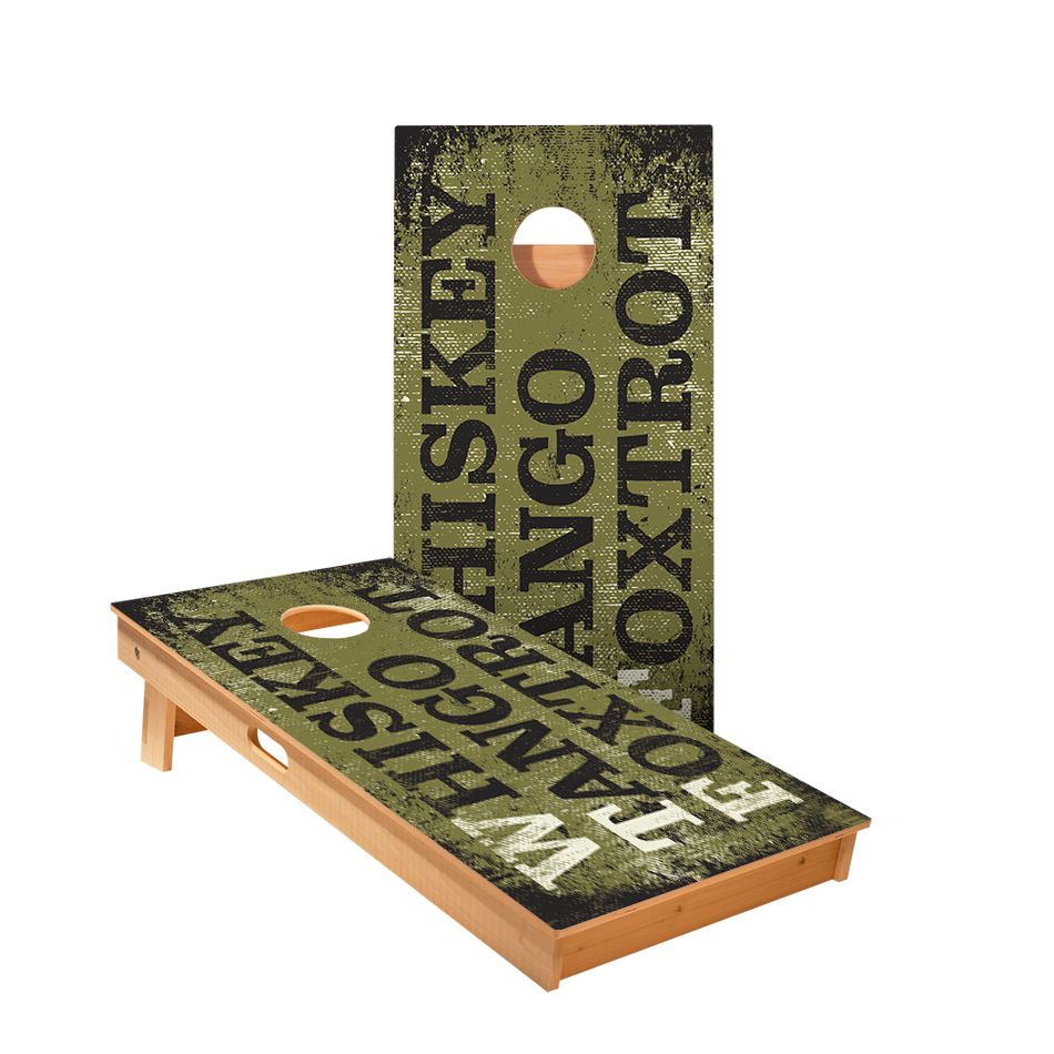 Whiskey Tango Foxtrot Board Regulation Cornhole Boards Bag Toss Game Set