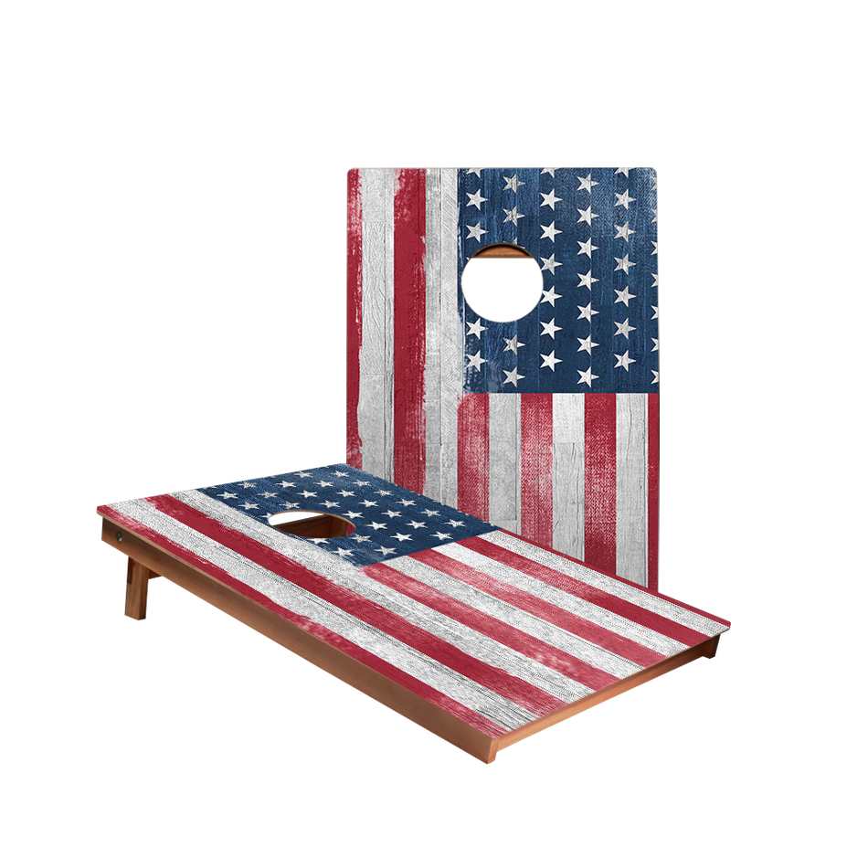 Dale White Vintage American Flag Recreation Cornhole Boards