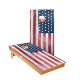 Star White Rustic Wood American Flag Professional Cornhole Boards