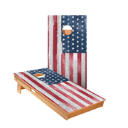White Rustic Wood American Flag Regulation Cornhole Boards Bag Toss Game Set