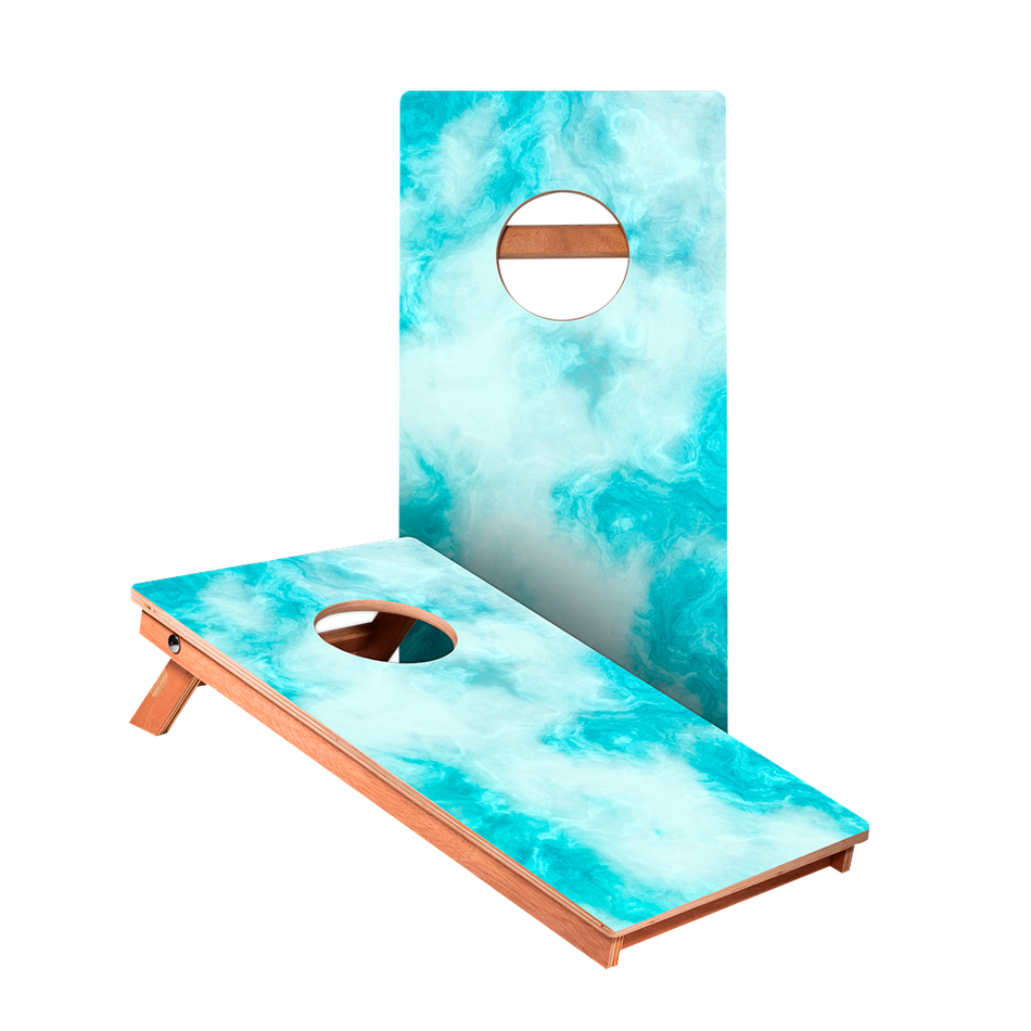 KG Blue Marble Junior Cornhole Boards bag toss game set