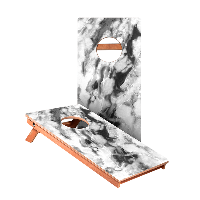 Black And White Marble Junior Cornhole Boards bag toss game set