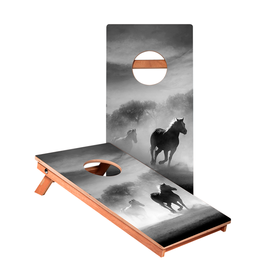 Black And White Horses Junior Cornhole Boards bag toss game set